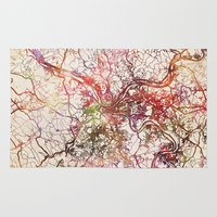 pittsburgh Area & Throw Rugs featuring Pittsburgh by MapMapMaps.Watercolors