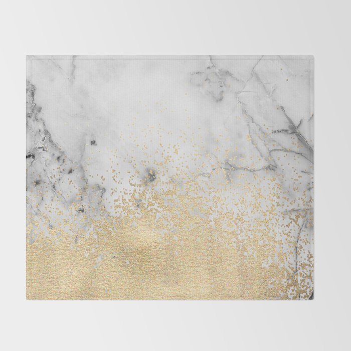 Gold Dust on Marble Throw Blanket