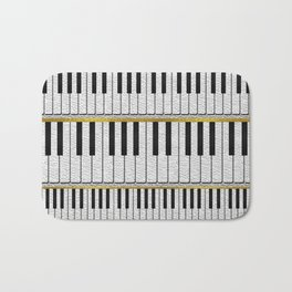 White Leather Piano Keys pattern with golden lines Bath Mat