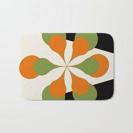 Mid-Century Modern Art 1.4 - Green & Orange Flower Bath Mat