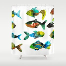 watercolor fish Shower Curtain