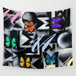Monarch Butterfly Modern Abstract Painting Rainbow Art Wall Tapestry