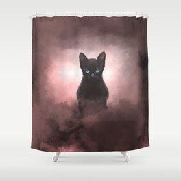 Mystic Black Cat  Shower Curtain
