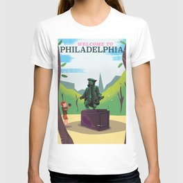 Philadelphia benjamin franklin statue vintage cartoon travel poster T-shirt
