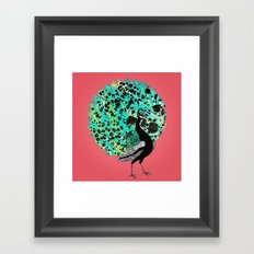 Neon Peacock Framed Art Print