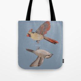 cardinal and sparrow Tote Bag