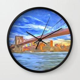 Brooklyn Bridge New York Pop Art Wall Clock