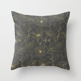 Simple garden flowers gold outlines design Throw Pillow