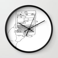 text Wall Clocks featuring Text by CreatureContours