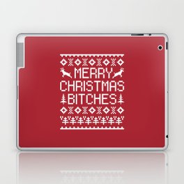 Merry Christmas Bitches Funny Xmas Quote Laptop & iPad Skin