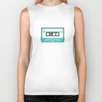 cassette Biker Tanks featuring #54 Cassette by Brownjames Prints