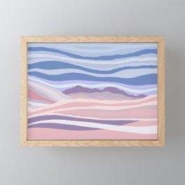 Bohemian Waves // Abstract Baby Blue Pinkish Blush Plum Purple Contemporary Light Mood Landscape  Framed Mini Art Print