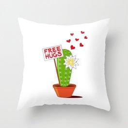 Free Hugs Cactus Throw Pillow