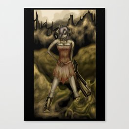 The Girl with a Big Gun Canvas Print