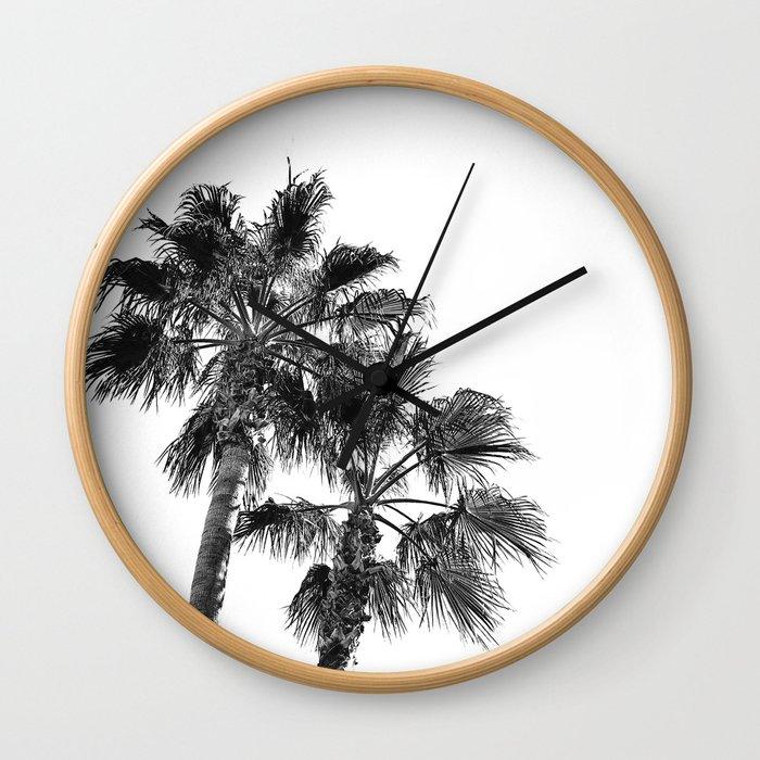 B&W Palm Tree Print | Black and White Summer Sky Beach Surfing Photography Art Wall Clock