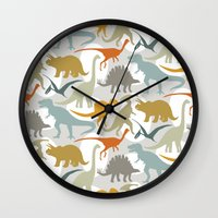 dinosaurs Wall Clocks featuring Dinosaurs by Jill Byers