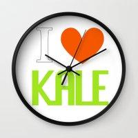 vegetarian Wall Clocks featuring I Love Kale - Vegan & Vegetarian - Kale Love by Be Kindly