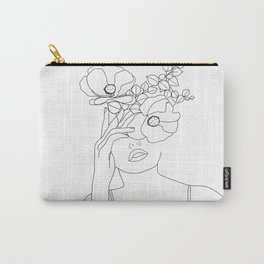 Minimal Line Art Woman with Flowers II Carry-All Pouch
