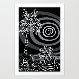 Invert Palms and Waves Art Print