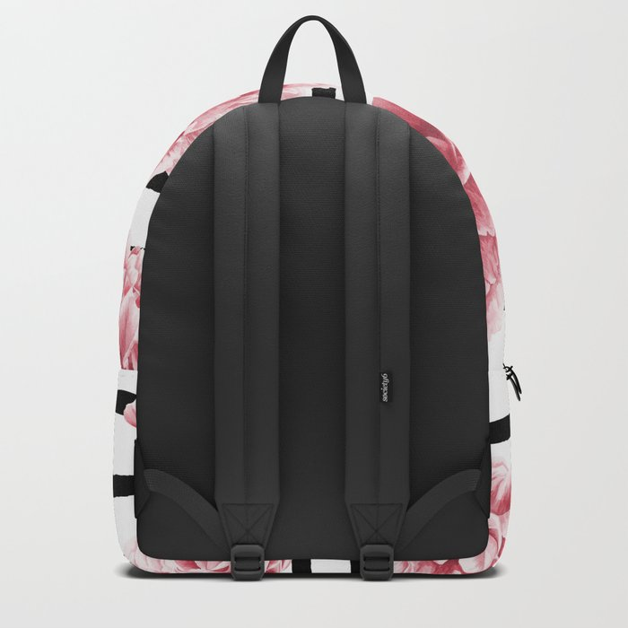 Simply Drawn Stripes and Roses Backpack