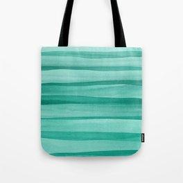 Green Watercolor Lines Pattern Tote Bag