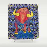 bull Shower Curtains featuring Bull by Dusty Goods