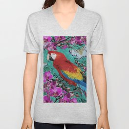 TROPICAL ORCHIDS RED MACAW PARROT JUNGLE ART Unisex V-Neck
