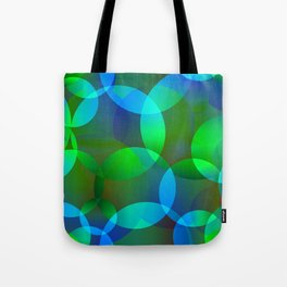 Abstract soap from space yellow and green bright circles and bubbles on a luminous background. Tote Bag