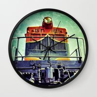 montana Wall Clocks featuring Train Montana by JustinBlackPhoto