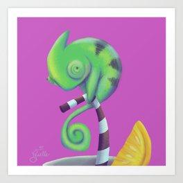 Neon Chameleon Art Print