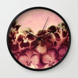 vintage tones pansies Wall Clock