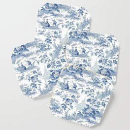 Powder Blue Chinoiserie Toile Coaster