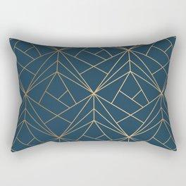 Benjamin Moore Hidden Sapphire Gold Geometric Pattern With White Shimmer Rectangular Pillow