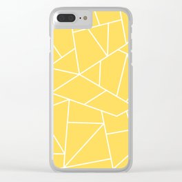 White Mosaic Lines On Mustard Yellow Clear iPhone Case