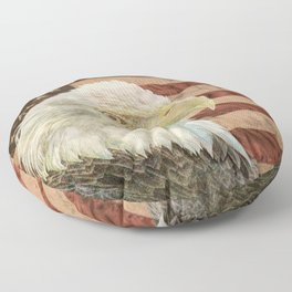 Rustic Bald Eagle on American Flag A213 Floor Pillow