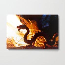 Campfire Dragon Metal Print