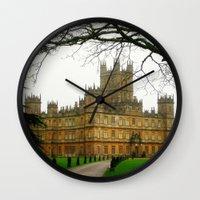 downton abbey Wall Clocks featuring Downton Abbey Licious  by seardig