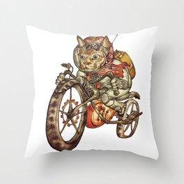 Berserk Steampunk Motorcycle Cat Throw Pillow