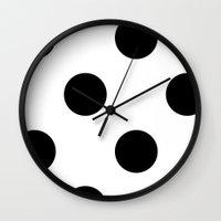 polka dot Wall Clocks featuring Polka Dot by Katy Martin