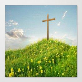 Wooden ✞ Cross Upon Grass Hill Canvas Print