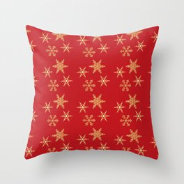 Snowflakes on Red Throw Pillow
