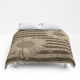 Beige Daisies with Stripes Comforters