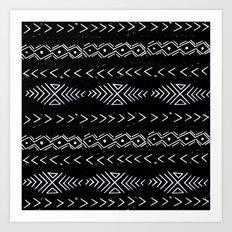 Mudcloth linocut design original black and white minimal inky texture pattern Art Print