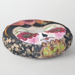 Frida The Catrina - Dia De Los Muertos Painted Skull Mixed Media Art Floor Pillow