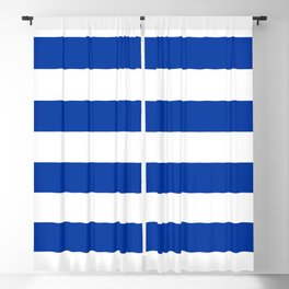 Dark Princess Blue and White Wide Horizontal Cabana Tent Stripe Blackout Curtain