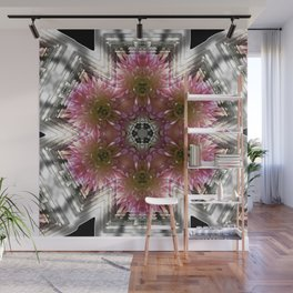 Floral Abstract Pretty In Pink and Silver Wall Mural