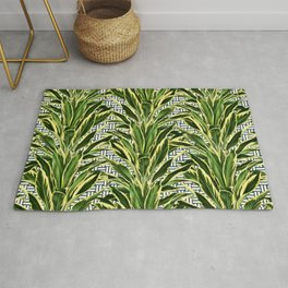 Palms on Stitch Pattern - Blue White Gold Rug