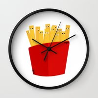 french fries Wall Clocks featuring FRENCH FRIES by cfortyone