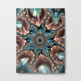 Elegant Scallops Feather Abstract Fractal Brown Aqua Turquoise Cream Shiny Stylish Digital Graphic Metal Print