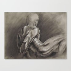 Nude Male Figure Study, Black and White.  Canvas Print